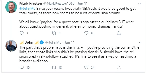 Mark Preston Tweet about assessing your backlinks